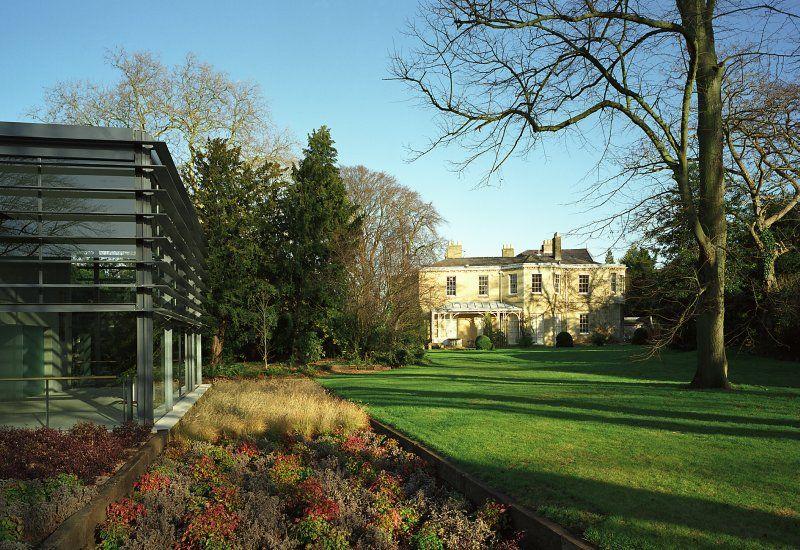Fitzwilliam college cambridge university residence Library garden grove