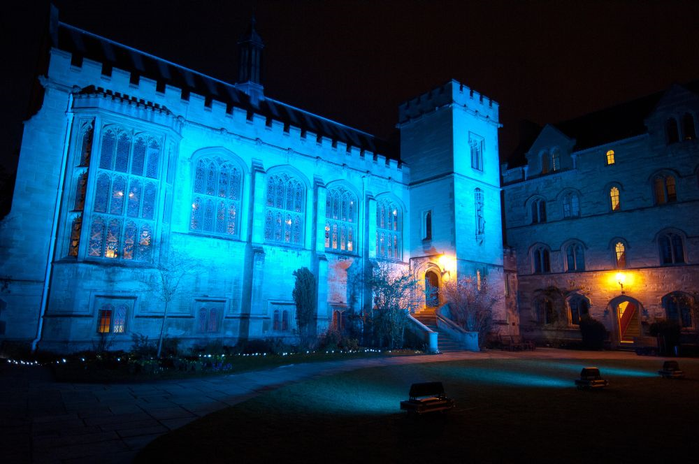 Pembroke Hall at night