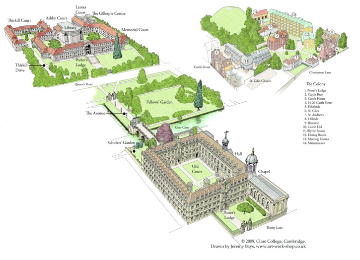 Clare College map