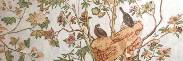 Hand Painted 17 Century Wall paper