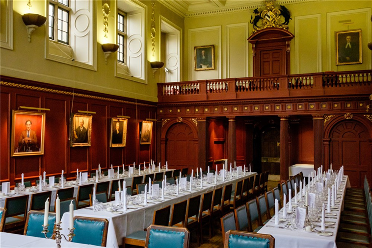 The exquisite rococo dining hall