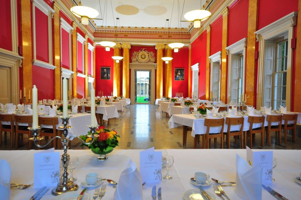 The Hall Set up for a Formal Dinner