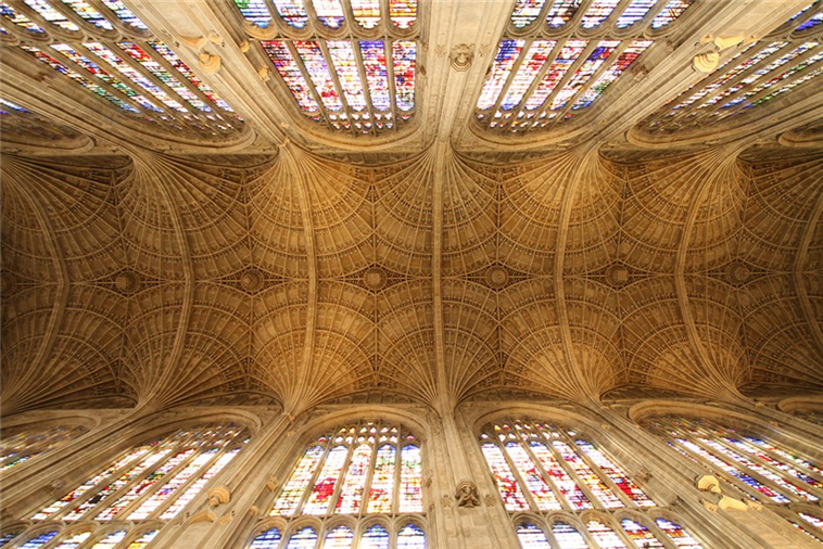 The famous vaulted ceiling of the Chapel