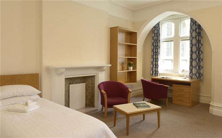 Single traditional bedrooms at Trinity Hall Cambridge College