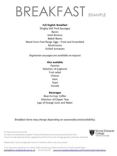 Breakfast example menu